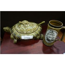 Turtle soup tureen and music stein