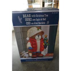 Bear with christmas tree door step figure