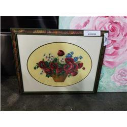 Framed rose needlepoint