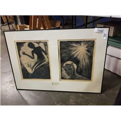 """JOAN MONT ARCA - DIPTYCH, DRY POINT ETCHING """"MAN LIVING BY HIS OWN LIGHT MAN LIVING BY GODS LIGHT"""""""