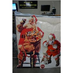 2 VINTAGE COCA-COLA STAND UP SANTA  ADVERTS - 3.5 AND 5 FEET TALL