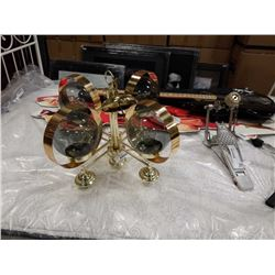 4 ARM RETRO BRASS AND GLASS GLOBE CHANDELIER