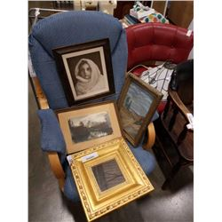 Three vintage pictures and framed mirror