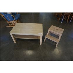 IKEA COFFEE TABLE AND SMALL WOOD STEP