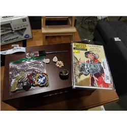 Prince and pauper 1946 comic, scout patches and sterling wash bin with broach