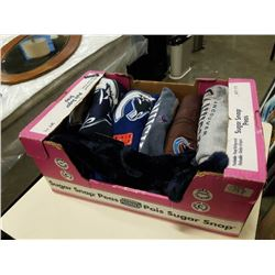 BOX OF CANUCKS CLOTHING AND COLLECTABLES