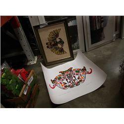Native thunderbird needlepoint and lot of unframed john nelson prints