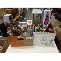 2 BOXES OF CHRISTMAS DECOR AND TOYS