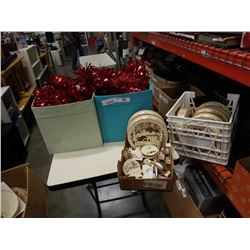 3 BOXES OF GARLAND AND TRAY AND CRATE OF CHRISTMAS LIGHT UP ORNAMENTS