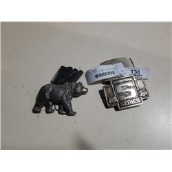 4 BELT BUCKLES, BEAR, TRANSFORMERS AND OTHERS