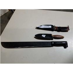 FULL TANG KNIFE, WOOD AND BRASS HILT KNIFE AND MACHETE