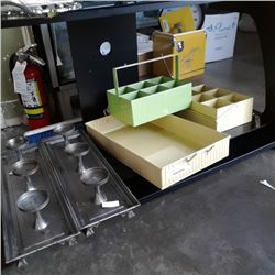 METAL TRAY WITH METAL CARRY ORGANIZERS AND CANDLE STANDS