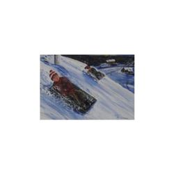 original painting Winter Fun Hill by Robert A Langdon-peinture original Plaisirs d'Hiver sur Colline