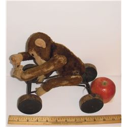 """Antique as is toy monkey on four wood wheels likely Steiff 1912+ 10hx9"""" rare Singe jouet ancien"""