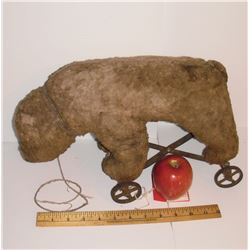 """Antique as is Teddy Bear likely Steiff on metal wheels ap 9h x 15"""" - very rare Jouet ancien ours"""