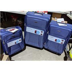 New Ricardo Beverly Hills Huntington 2.0 3 piece luggage blue color