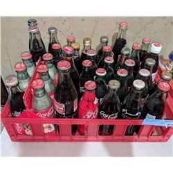 Approx. 35 vintage Coca Cola bottles collection with crate