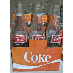 Approx. 30 vintage empty Coca Cola, Pepsi, 7Up, Fanta, Crush bottles with vintage wooden crate