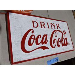 "Styrofoam reproduction Coca Cola sign - 19"" x 10"""