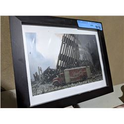 """Framed Coca-Cola truck with the World Trade Center collapse background 11.5"""" x 9.5"""""""