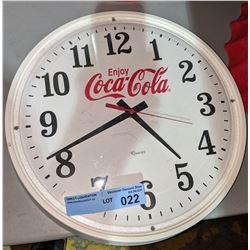 "Collector white round Enjoy Coca-Cola clock 14"" Diameter"