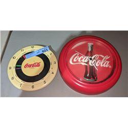 """Pair of '80s Coca-Cola clocks - 8"""" and 10"""" Diameter"""