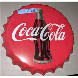 """Reproduction Coca-Cola cap tin - 16"""" Diameter"""