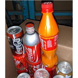 Box full of tin vintage Coca-Cola cans, Aluminum
