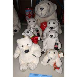 Coca-Cola polar bear stuffed toys - six small, one big
