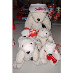 Cuddly Coca-Cola polar bears stuffed toys four small, one big