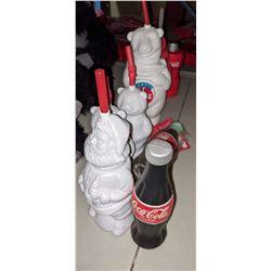 Coke icy promo cups, Santa Claus polar bear, two rubber Coca-Cola bottles etc.