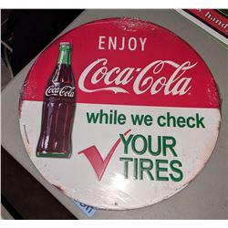 "1 metal and 2 Coca Cola signs (12"" diameter, 2 signs 12"" x 16"")"
