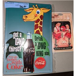 Coke metal sign, decorative wall plate and 2009 Olympic flag