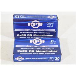 35 Rounds PPU 8X56 RS Mannlicher Ammunition