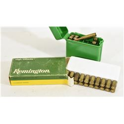 23 Pieces of  243 Winchester Brass and 5 Rounds