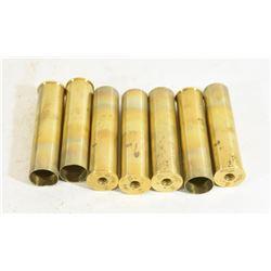 """7 Unprimed Brass 10 Gauge 3 1/2"""" Shells"""