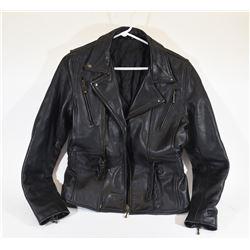 Ladies' Black Leather Motorcycle Jacket