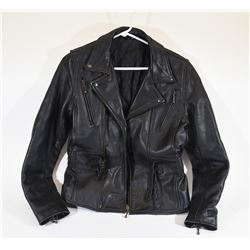 Ladies' Black Leather Motorcycle Jacket