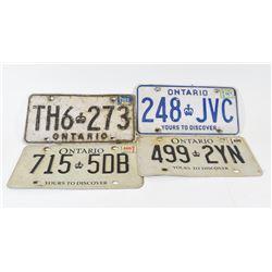 4 Ontario License Plates