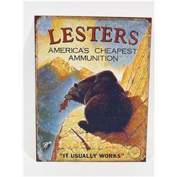 Metal Lesters Ammunition Sign