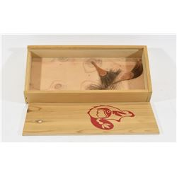 Wood Box With Native Logo with 4 Leather/Hair