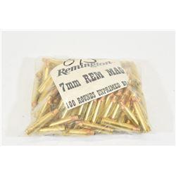 100 Pieces of Remington Brand  7mm Rem Mag Brass