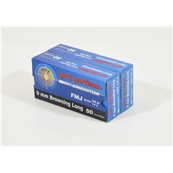 100 Rounds 9mm Browning Long Ammunition