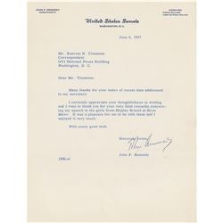 John F. Kennedy Typed Letter Signed