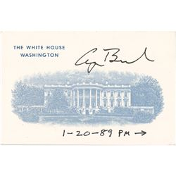 George Bush Signed White House Card