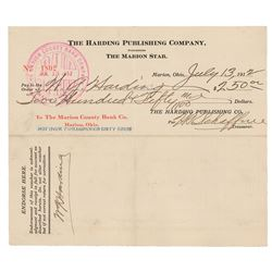 Warren G. Harding Document Signed