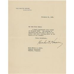 Herbert Hoover Typed Letter Signed
