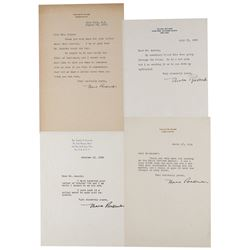 Eleanor Roosevelt (4) Typed Letters Signed