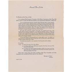 Franklin D. Roosevelt Death Notice to Harvard Class of 1904