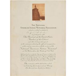 William H. Taft: National American Indian Memorial Invitation